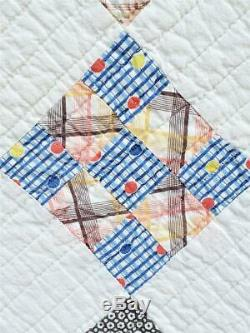 (131) VERY FINE Vintage Quilt NINE PATCH on POINT Handmade