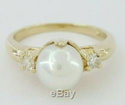 14k Yellow Gold Akoya Pearl & Diamond Fashion Ring 6.9 mm Pearl Very Fine