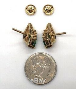 14k Yellow Gold Natural EMERALD Earrings-Very Fine Quality Pair