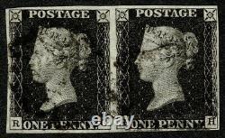 1840 1d Black Pl 6 RG-RH 4m Very Fine Used Pair Cat. £1,250.00