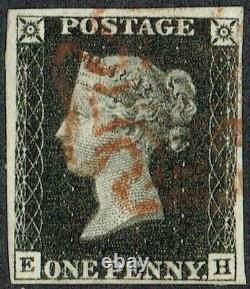 1840 1d Intense Black Pl 6 EH 4m Red Maltese Cross Very Fine Used Cat. £500.00