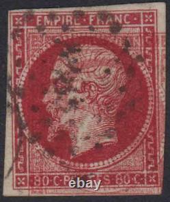 1853, 80c deep rose VFU 4 margin. SG 74c double impression RPS cert