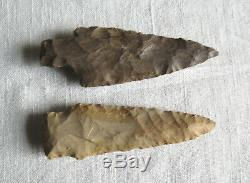 2 Very Fine Authentic Tennessee Arrowheads 3 3/8 Native American Indian Points