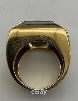 A Very Fine & Rare Versace Italian 18k Bi-color Gold Blue Topaz And Diamond Ring