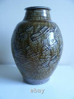 A very fine Phil Rogers studio pottery stoneware vase, ash glaze and salt fired
