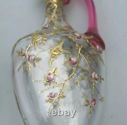 A very fine pair antique cranberry & gilt overlaid small Ewers Moser C. 1890