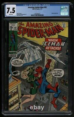 Amazing Spider-Man #92 Comic CGC VFN Minus Versus The Iceman Marvel Comics