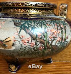 Antique Period Very Fine Satsuma Vase Handles Trees Flowers Birds Cobalt Gold
