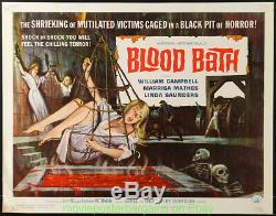 BLOOD BATH MOVIE POSTER Rolled 22x28 Inch 1966 Very Fine Half Sheet AIP HORROR
