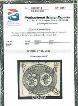 Brazil #1 Very Fine Used With Graded Certificate