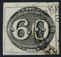 Brazil 1843 SG2 60r Black Intermediate Impression Very Fine Used Geral Da Corte