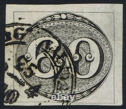 Brazil 1843 SG2 60r Black Worn/Intermediate Impression Very Fine Used