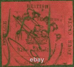 British Guiana 1856 4c Black/Magenta SG24 Very Fine & Fresh Looking Cut Square E