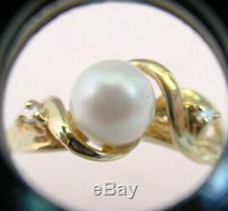 CULTURED AKOYA PEARL 6.61 mm. & DIAMONDS VINTAGE 10K GOLD RING VERY NICE