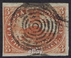 Canada 1852 SG22 3d Red Thin Ribbed Paper Very Fine Used Cat. £450.00