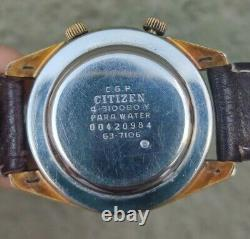 Citizen Alarm Date Vintage Mens Watch Japon Made Works Fine Very Rare 63-7106