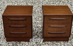 Fine Pair Of Retro Teak G Plan 3 Drawer Bedside Chests Very Clean