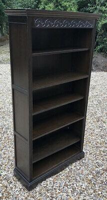 Fine Solid Oak Old Charm Tall Bookcase Very Clean We Deliver