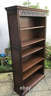 Fine Solid Oak Old Charm Tudor Brown Tall Bookcase Very Clean We Deliver