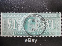 Great Britain Stamp Edward Vll 1902 SG266 De La Rue £1 Dull Blue-Green Very Fine