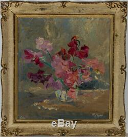 Hans Rudolf Meyer (1913-2012) Very Fine 1945 Oil, Study of Sweet Peas