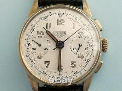 Heuer Chronograph 14k Solid Gold Fine Valjoux 23 Very Beautiful Worked Lugs