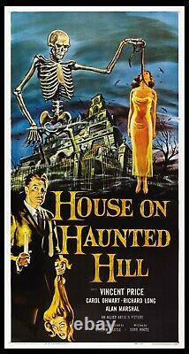 House On Haunted Hill Vincent Price Horror 1958 3-sheet Linenbacked Very Fine