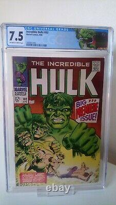 Incredible Hulk # 102 Cgc 7.5 Key 1st Premier Issue Origin Retold Cents 1968