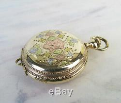 Lady Albert very fine Gold Filled working pocket watch checkerboard three tone