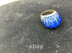 Lapis Lazuli large dome ring with gold weave GREAT LOOK Very fine stone 12.7 Gr