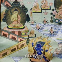 Large Very Fine Buddha Thanka Painting Gold Peacocks 1975 Tibet Nepal