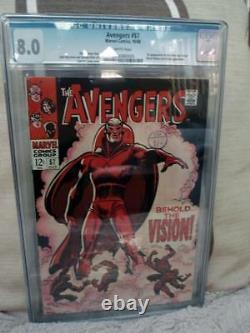 MARVEL Comics AVENGERS #57 1968 VFN WHITE CGC 8.0 HIGH grade 1st VISION ULTRON