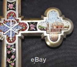 MICRO MOSAIC Cross CRUCIFIX 10 GRAND TOUR Very FINE Lg CHURCH & ROME Symbols