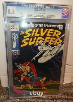 Marvel comics Silver Surfer 4 CGC 8.5 Battles Thor & Hulk Loki Appearance