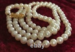 Mikimoto Akoya pearl necklace 18K Gold M clasp RARE 30 Inch very fine -UK seller
