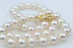 Mikimoto Very Fine 9mm Large Pearl Princess Length Necklace 18K Gold Clasp