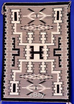 Navajo Very Fine & Tight Weave Natural Storm Pattern Rug 36 x 25 c. 1980