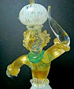 Pair Of VERY Fine Latticino Murano Art Glass Figures By Venini Fruit on Heads