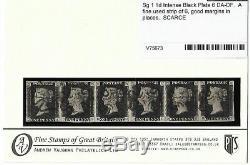 Penny Blacks 1d Sg Intense Black Plate 6 DA-DF A Fine used strip of 6 VERY RARE