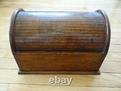 Rare Very Fine Antique Oak Table Top Small Roll Top Desk