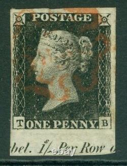 SG 2 1d black plate 6 lettered TB. A very fine used example, part marginal
