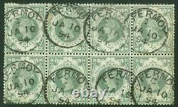 SG 211 1/- dull green. Very fine used block of 8. Cancelled with Fermoy CDS's