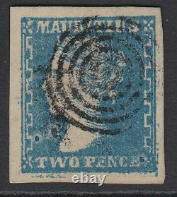 SG 44 Mauritius 1859. 2d pale blue. Very fine used with a crisp target