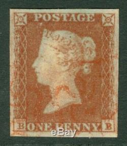 SG 8 1d red-brown lettered BB. Very fine used with a red Maltese cross. 4 fine