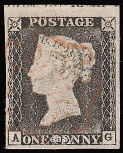 SG3 1840 1d. Grey-black plate 1a, AG. Very fine used top marginal example sho