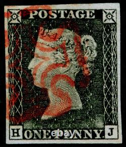 SG3, 1d grey-black PLATE 1a, VERY FINE USED. Cat £525. RED MX. 4 MARGINS. HJ