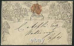 SGME2 1d Mulready envelope Format A139, very fine used Red MX