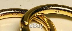 Set of 3 Very Fine 18K Yellow White & Rose Gold Each With Three Diamonds Rings
