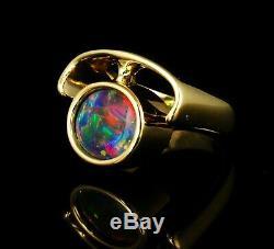 Signed Vintage Very Rare Fine Natural Australian Black Opal Solid 18k Gold Ring