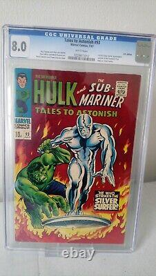 Tales To Astonish # 93 Cgc 8.0 Key Hulk Vs Silver Surfer X-over Pence 1967